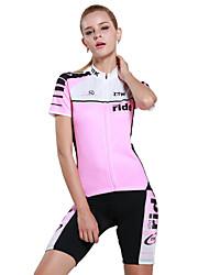 economico -Mysenlan Per donna Manica corta Maglia con pantaloncini da ciclismo - Rosa Bicicletta Set di vestiti, Asciugatura rapida, Resistente ai raggi UV, Traspirante Poliestere / Tecniche avanzate di cucito