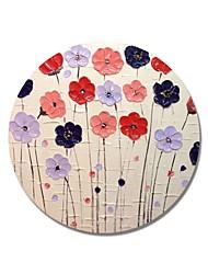 Недорогие -styledecor® современная ручная роспись абстрактная круглая рамка разноцветные цветы в бледно-желтом фоне масло на обернутом холсте