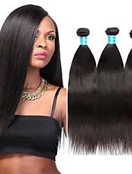 Недорогие -3 Связки Бразильские волосы Яки Необработанные / Не подвергавшиеся окрашиванию Волосы Уток с закрытием 8-30 дюймовый Ткет человеческих волос Машинное плетение Лучшее качество / 100% девственница
