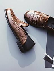 abordables -Femme Chaussures Cuir Nappa Eté Confort Mocassins et Chaussons+D6148 Talon Plat Bout rond Noir / Marron