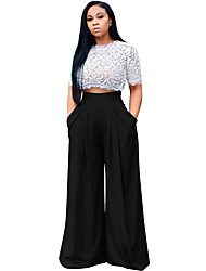 cheap -Women's Street chic Wide Leg Pants - Solid Colored Pleated