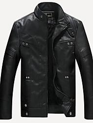 Недорогие -Муж. Кожаные куртки Армия - Однотонный