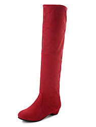 cheap -Women's Shoes Elastic Fabric Fall & Winter Slouch Boots Boots Low Heel Round Toe Knee High Boots Side-Draped Brown / Red / Blue / Party & Evening