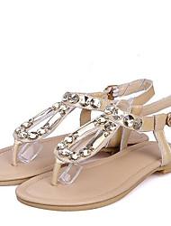 Mujer Zapatos Cuero Verano Anillo Frontal Sandalias Tacón Plano Puntera abierta Pedrería / Hebilla Blanco / Almendra fNT7eyc