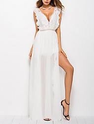 baratos -Mulheres Para Noite Bainha Vestido Decote V Longo