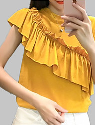 cheap -Women's T-shirt - Solid Colored / Color Block Ruffle / Pleated / Patchwork