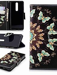 Недорогие -Кейс для Назначение Nokia Nokia 5.1 / Nokia 3.1 Кошелек / Бумажник для карт / со стендом Чехол Бабочка Твердый Кожа PU для Nokia 5 / Nokia 3 / Nokia 2.1