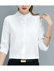 cheap -women's work cotton shirt - solid colored stand
