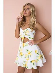 abordables -Mujer Corte Swing Vestido - Acordonado / Estampado, Fruta Sobre la rodilla