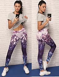 baratos -Mulheres Calças de Yoga - Violeta Esportes Elastano Meia-calça / Leggings Corrida, Fitness, Exercite-se Roupas Esportivas Respirável, Macio, Confortável Com Stretch