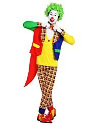 Недорогие -Клоун Костюм Универсальные Хэллоуин Хэллоуин Карнавал Маскарад Фестиваль / праздник Полиэстер Желтый Карнавальные костюмы Однотонный Клетки Halloween