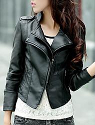 baratos -Mulheres Jaquetas de Couro Sólido Colarinho Chinês