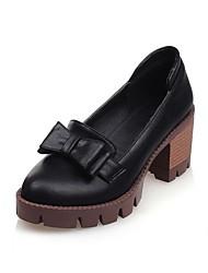 baratos -Mulheres Sapatos Couro Ecológico Primavera Verão Conforto Mocassins e Slip-Ons Salto de bloco Ponta Redonda Laço Preto / Cinzento / Amêndoa