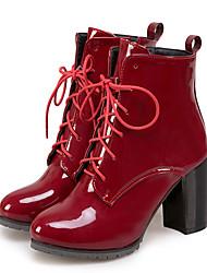 Недорогие -Жен. Обувь Полиуретан Наступила зима Модная обувь / Ботильоны Ботинки На толстом каблуке Заостренный носок Ботинки Черный / Красный / Синий