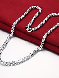 abordables -Hombre Hebra Única Collares de cadena - Plateado Simple, Básico, Moda Plata 50 cm Gargantillas 1pc Para Diario, Trabajo