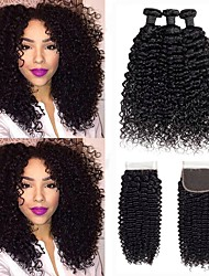 cheap -Malaysian Hair Deep Wave Cosplay Suits / Natural Color Hair Weaves / Tea Party Favors 3 Bundles With  Closure 8-20 inch Human Hair Weaves 4x4 Closure Soft / New Arrival / Hot Sale Dark Black Human
