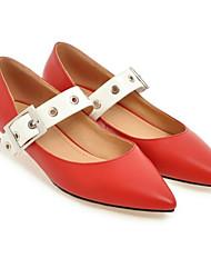 baratos -Mulheres Sapatos Couro Ecológico Primavera Conforto Saltos Salto Robusto Branco / Preto / Vermelho