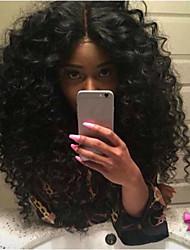 preiswerte -Remi-Haar Spitzenfront Perücke Brasilianisches Haar Afro Kinky Perücke Mittelteil 180% Natürlicher Haaransatz Schwarz Damen Mittellang Echthaar Perücken mit Spitze