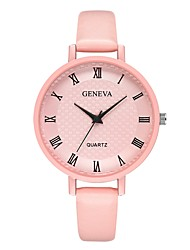 cheap -Geneva Women's Wrist Watch Quartz New Design Casual Watch Cool Leather Band Analog Casual Fashion Black / Blue / Pink - Pink Black / White Black / Silver One Year Battery Life