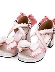 cheap -Lolita Shoes Sweet Lolita Dress Princess Lolita Chunky Heel Shoes Color Block 4.5 cm CM Black / Pink For PU(Polyurethane)