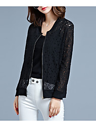 cheap -Women's Basic / Street chic Jacket - Solid Colored, Lace / Cut Out
