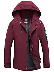 cheap -Men's Plus Size Jacket - Solid Colored Hooded / Long Sleeve