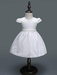 abordables -bébé Fille Actif / Basique Soirée Couleur Pleine / Jacquard Noeud Manches Courtes Mi-long Robe / Bébé