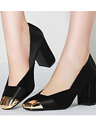 Недорогие -Жен. Обувь Овчина Весна / Осень Удобная обувь / Туфли лодочки Обувь на каблуках На толстом каблуке Черный / Военно-зеленный / Зеленый