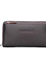economico -borsa da uomo in nappa con cerniera portafoglio / goffrato nero / marrone