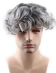 cheap -PANCY Grey Mono with PU Toupee For Men Hair Replacement Hair System Wavy Style Men Wig 8X10 inch dark brown mix 60% grey hair