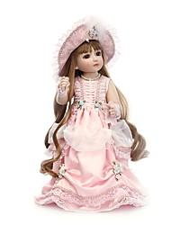Недорогие -NPKCOLLECTION Кукла с шаром Блайт Кукла Викторианский стиль 18 дюймовый Полный силикон для тела Винил - Искусственная имплантация Коричневые глаза Детские Девочки Игрушки Подарок