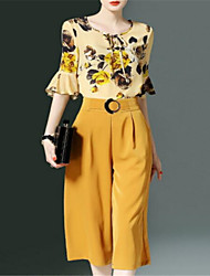 cheap -Women's Basic Blouse / Set - Solid Colored, Print / Wide Leg Pant / Flare Sleeve / Floral