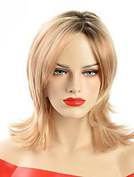 billige -Syntetiske parykker Bølget Sort-Blonde Side del Syntetisk hår Justerbar / Varme resistent / Klassisk Sort-Blonde / Nuance Paryk Dame Mellemlængde Lågløs / Ja