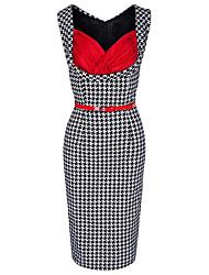 cheap -women's linen / cotton shift dress knee-length