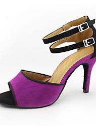 Недорогие -Жен. Обувь для латины / Бальные танцы Замша Кроссовки Тонкий высокий каблук Танцевальная обувь Лиловый / Кожа / Тренировочные