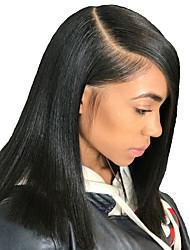 Недорогие -человеческие волосы Remy Лента спереди Парик Бразильские волосы Естественный прямой Парик Стрижка боб 150% Плотность волос / Природные волосы / Парик в афро-американском стиле / Необработанные