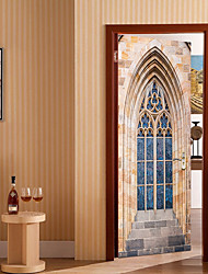 economico -Adesivi per porte - Adesivi 3D da parete Astratto / Forma Salotto / Camera da letto