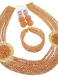 cheap -Women's Layered Jewelry Set - Moon Fashion Include Strands Necklace Green / Hot Pink / Champagne For Wedding