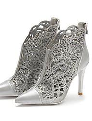 Недорогие -Жен. Наппа Leather Весна / Осень Удобная обувь / Модная обувь Ботинки На шпильке Золотой / Серебряный