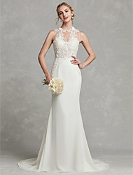 cheap -Mermaid / Trumpet Jewel Neck Chapel Train Chiffon / Lace Made-To-Measure Wedding Dresses with Beading / Appliques by LAN TING BRIDE® / Beautiful Back