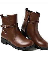 baratos -Mulheres Sapatos Couro Ecológico Inverno Conforto / Curta / Ankle Botas Salto Baixo Preto / Azul / Castanho Escuro