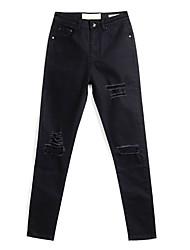 abordables -Mujer Básico Alta cintura Algodón Delgado Chinos Pantalones - Un Color Agujero / Primavera
