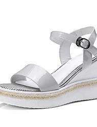 cheap -Women's Shoes Nappa Leather Spring & Summer Comfort Sandals Wedge Heel Black / Light Grey