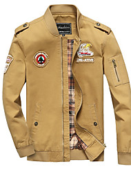 cheap -Men's Military Jacket - Solid Colored / Letter, Patchwork