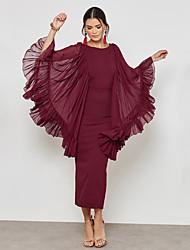 Недорогие -Жен. Уличный стиль / Изысканный Оболочка Платье - Однотонный, Сетка / С разрезами Макси