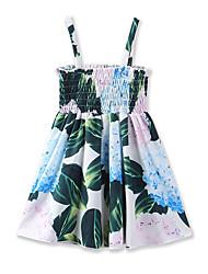 Недорогие -Дети (1-4 лет) Девочки Тропический лист Цветочный принт Без рукавов Платье