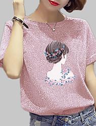 baratos -Mulheres Camiseta Estampado, Sólido / Retrato Algodão Solto