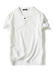 cheap -Men's Linen T-shirt - Solid Colored Stand / Short Sleeve