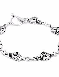 cheap -Men's Stylish / Link / Chain Chain Bracelet - Titanium Steel Skull Punk, European, Hip-Hop Bracelet Silver For Street / Bar