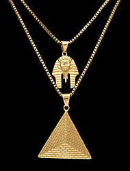 cheap -Men's Cubic Zirconia Vintage Style / Thick Chain Statement Necklace / Layered Necklace - Stainless Tower, Head Statement, Unique Design, Hip-Hop Gold 140 cm Necklace 2pcs For Carnival, Street